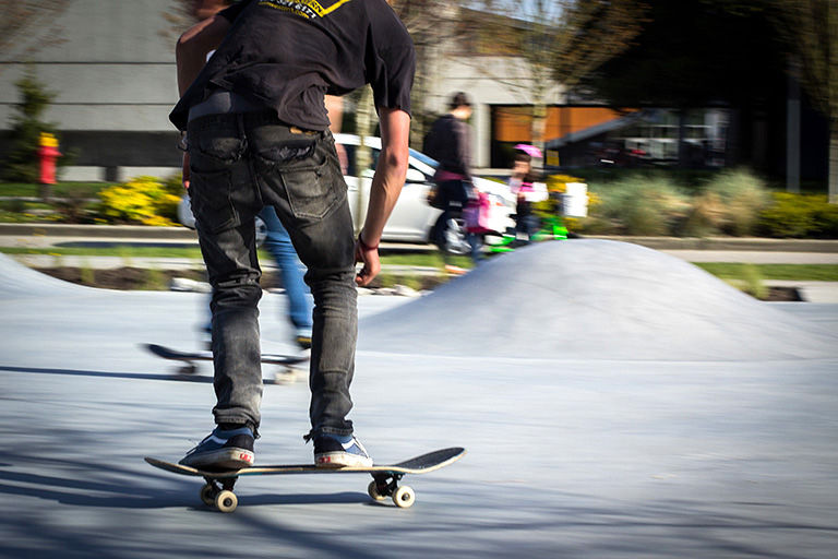 Students can bring their skateboards, BMX bikes, and rollerblades. Photo credit: Jamil Rhajiak