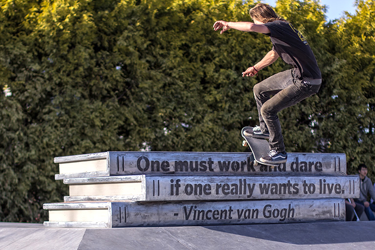 The skate park has post secondary appropriate features such as a large stack of books. Photo credit: Jamil Rhajiak