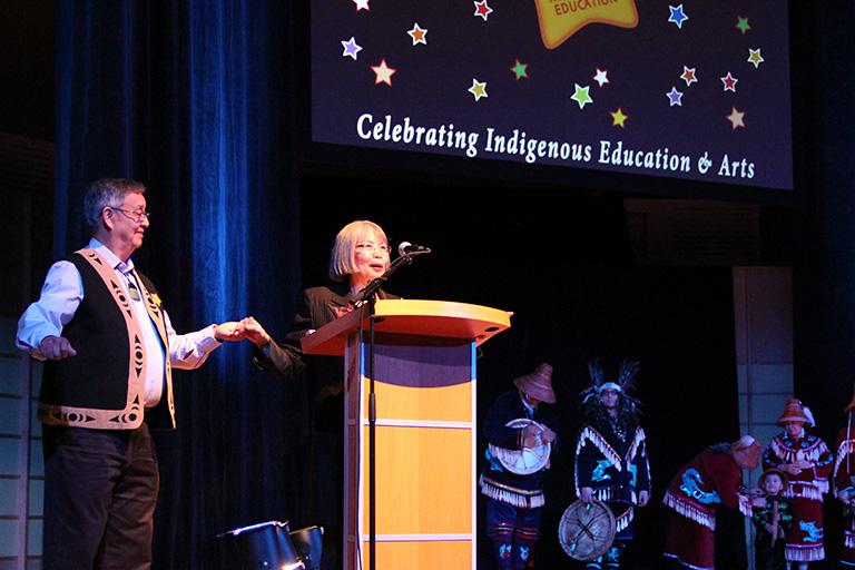 Dr. Jo-ann Archibald stands with Musqueum Elder Larry Grant. Photo credit: Alpha Lam