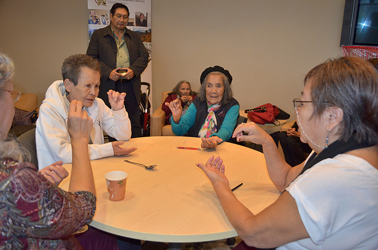 "Left to right: Splatsin Elders Rosalind Williams, Marion Lee, Marie Thomas and Florence Nicholas participate in the game ""where are your keys?"". Here they are signing the word ""no"". Photo credit: Dan Odenbach"