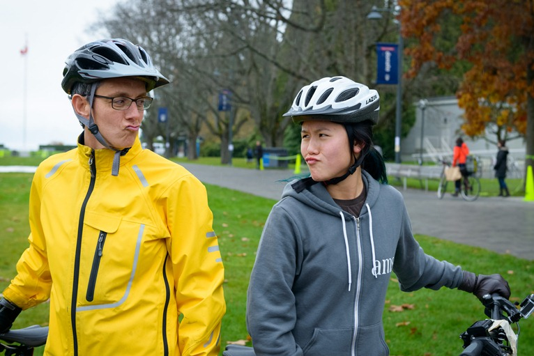 VP Students Louise Cowin took on AMS President Caroline Wong in an electric bike race during the campaign. Photo credit: Don Erhardt