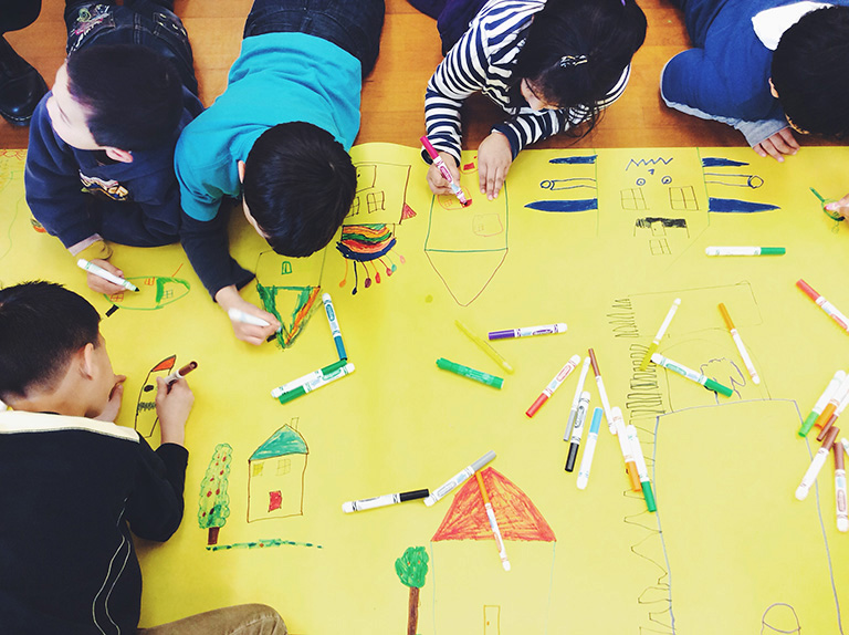 Kindergarten and Grade 1 students design their dream houses after learning about what architects do. Photo credit: Clare Yow