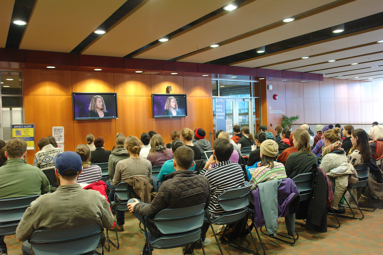 Viewers were able to watch a live streaming of TED at the Irving K. Barber Learning Centre. Photo credit: CTLT