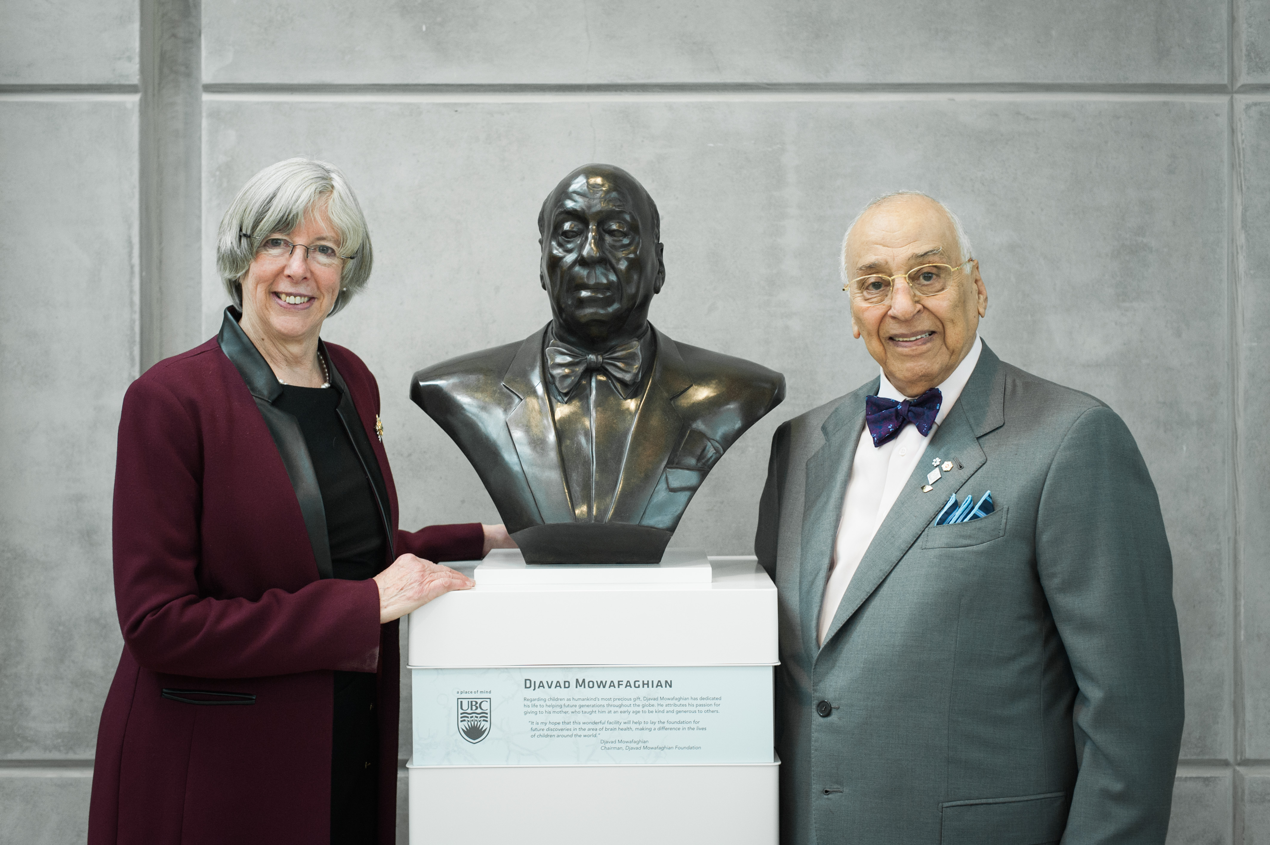 At the official opening of the Djavad Mowafaghian Centre for Brain Health  The Honourable Judith Guichon, Lieutenant Governor of British Columbia, with Djavad Mowafaghian. Photo: Martin Dee
