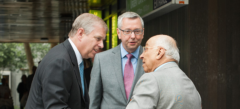 (Left to right) The Duke of York, UBC President and Vice Chancellor Stephen J. Toope and Dr. Djavad Mowafaghian. Photo credit: Martin Dee